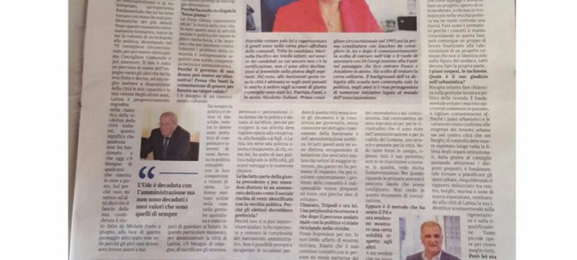 Il Giornale di Latina: l'articolo di presentazione della candidatura