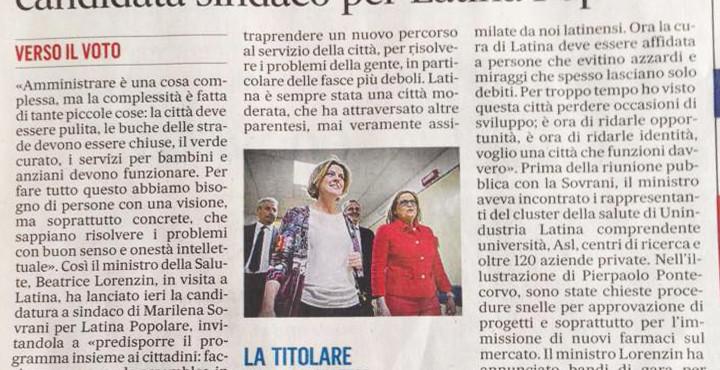 Il Ministro Lorenzin lancia la Sovrani candidata sindaco per Latina, Il Messaggero, 8 aprile 2016