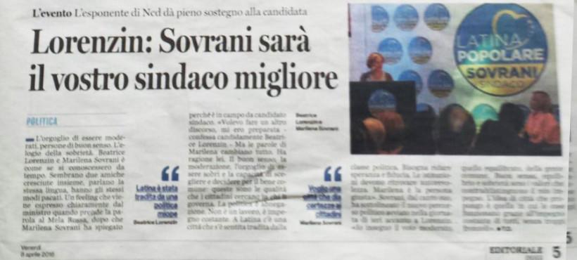 Lorenzin: Sovrani sarà il vostro sindaco migliore, Latina Oggi, 8 Aprile 2016